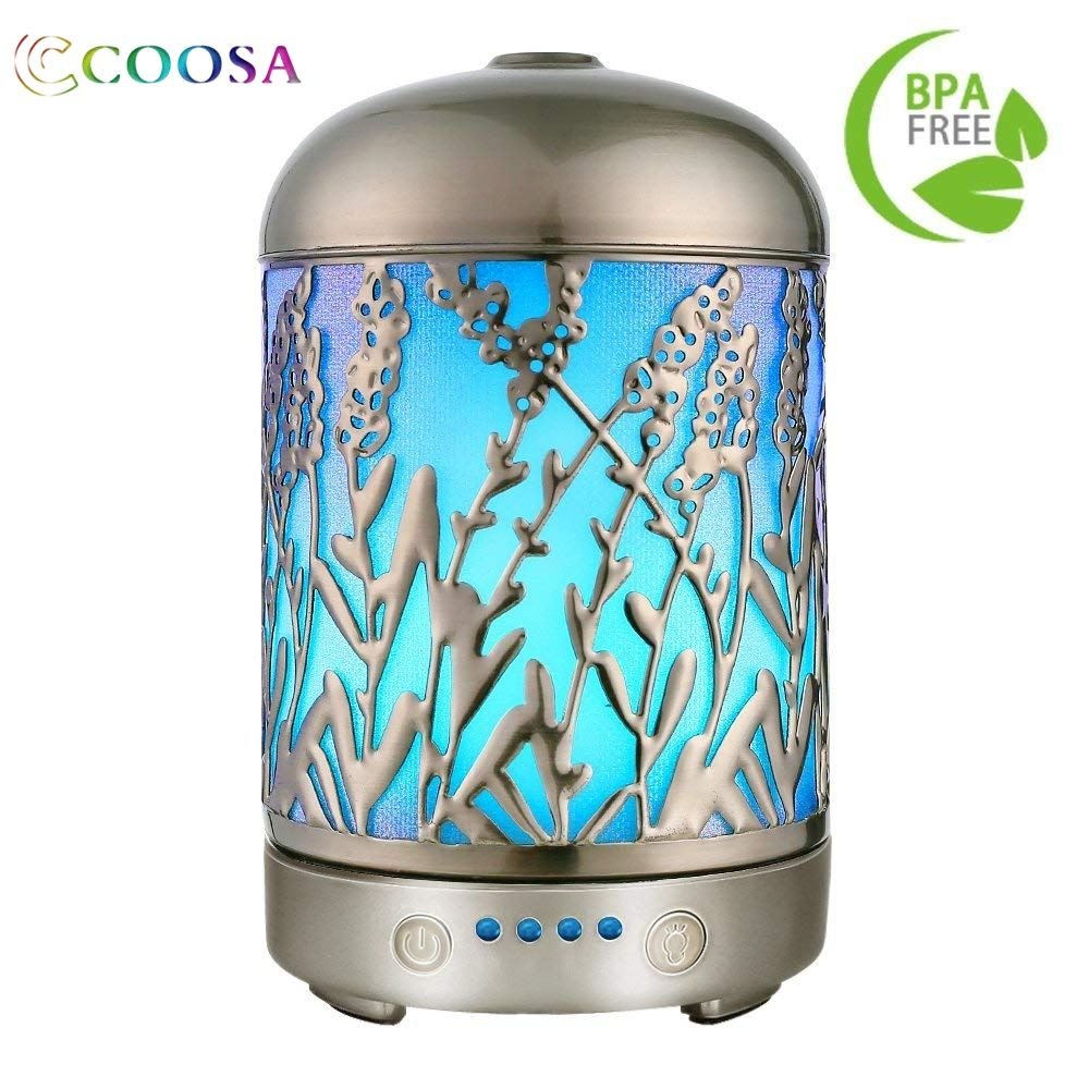 Coosa Aromatherapy Essential Oil Diffuser Lavender Pattern Ultrasonic Waterless Auto Shut-Off Aroma Diffuser For Home Kid's Room