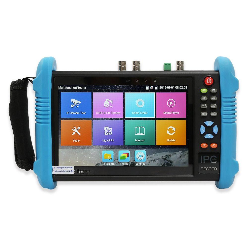 New 7 Inch Six In One IP HD CCTV Tester Monitor Analog AHD TVI3.0 CVI SDI Camera Tester H.265 4K 4MP 5MP ONVIF WIFI POE 12V Out