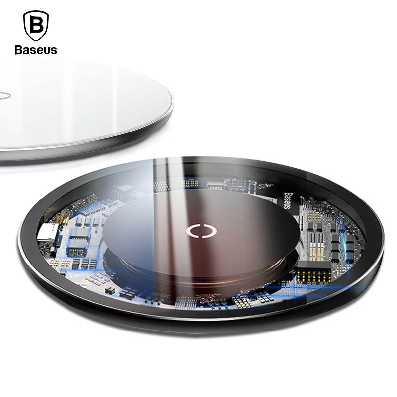 Baseus 10 W Qi Sans Fil Chargeur Pour iPhone X Xr Xs Max Verre Rapide Wireless Recharge Sans Fil Pad Pour Samsung s9 S8 Xiaomi de MÉLANGE 3 2 S