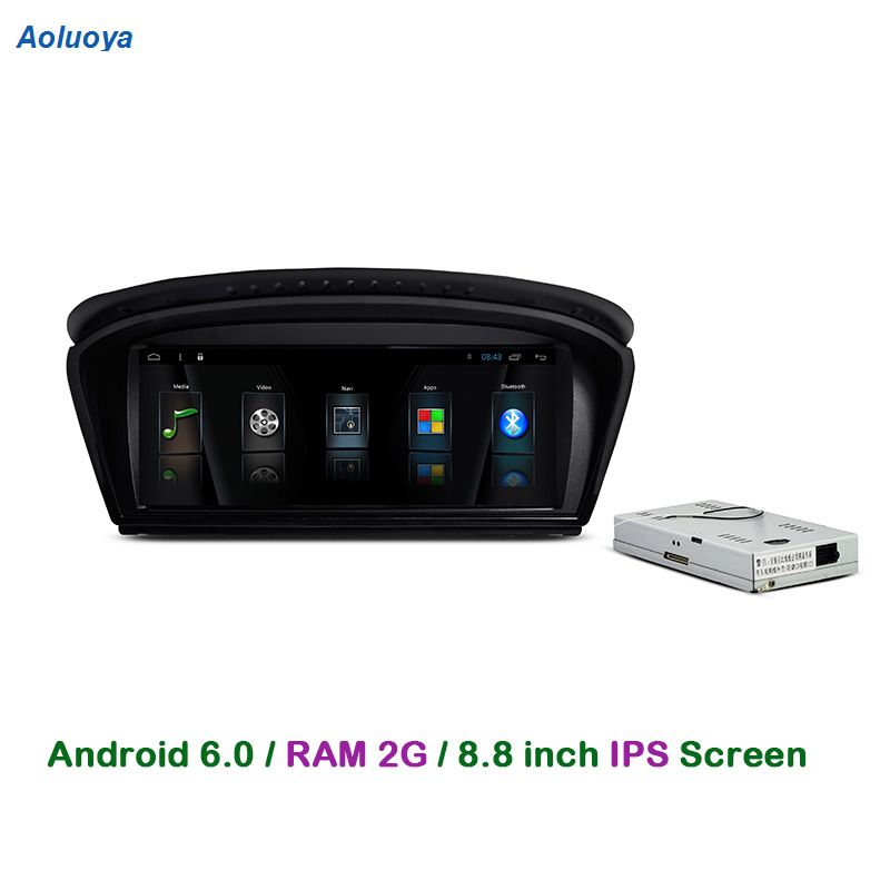 Aoluoya Quad Core RAM 2G Android 6.0 Autoradio DVD GPS Navigation pour BMW Série 5 E60 E61 E63 E64 2003-2010 Audio multimédia 3G