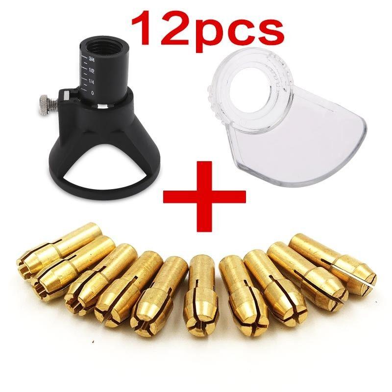 12pcs Dremel Mini Drill Rotary Accessories with Drill Locator Dremel Brass Chuck Dremel Shield For Electric Drill Mini Drill