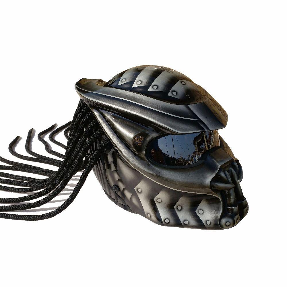 Grey / Matte Grey Green Predators mask fiberglass neca motorcycle helmet Full face iron man moto DOT M L XL