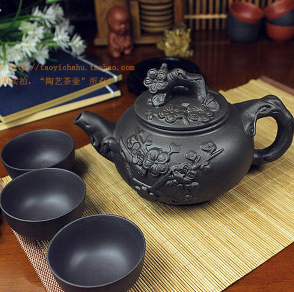 Offre spéciale théière porcelaine chinoise Yixing Zisha théière 400 ml + 3 tasses 60 ml Kung Fu thé ensemble théières fait à la main Zisha bouilloire en céramique