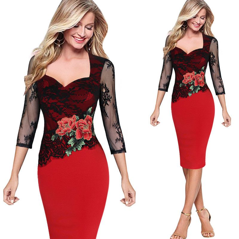 Women Elegant Embroidered Floral Lace One Piece Dress Suit See Through Party Special Occasion Pencil  Embroidery Dress