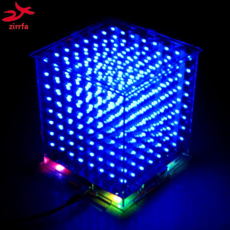 Hot <font><b>sale</b></font> 3D 8S 8x8x8 mini led electronic light cubeeds diy kit for Christmas Gift/New Year gift