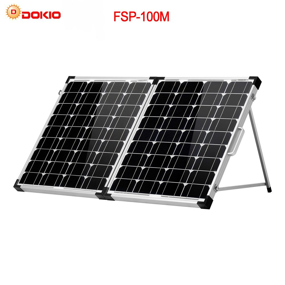 Dokio Brand 100W (2Pcs x 50W) Foldable Solar Panel China 18V +10A 12V/24V Controller Solar Battery Cell/Module/<font><b>System</b></font> Charger