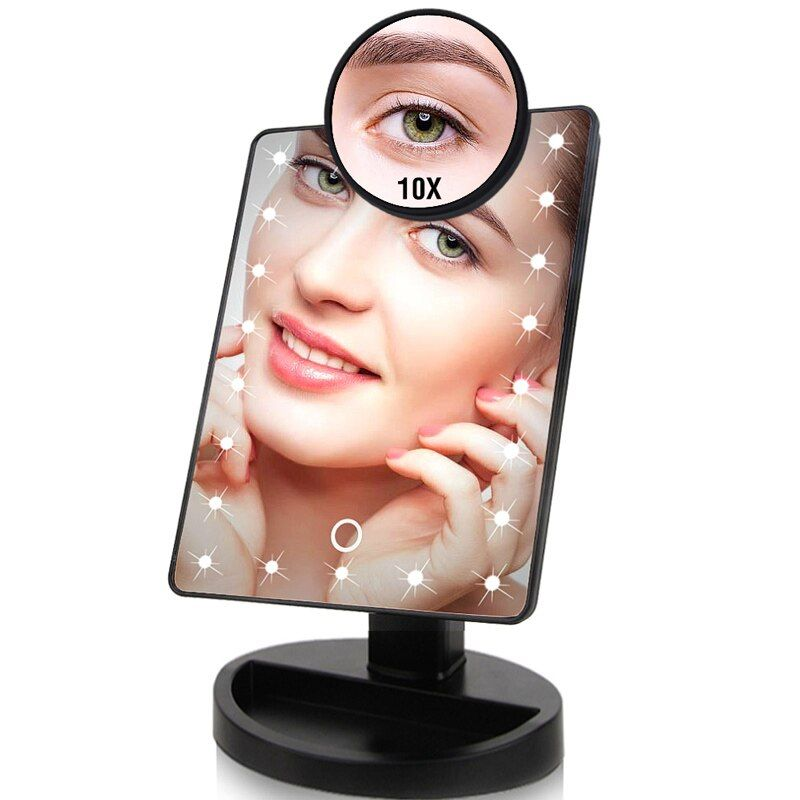22 LED Lights Touch Screen Makeup Mirror 1X 10X Table Desktop Countertop Bright Adjustable USB Cable Or Batteries Use 16 Lights