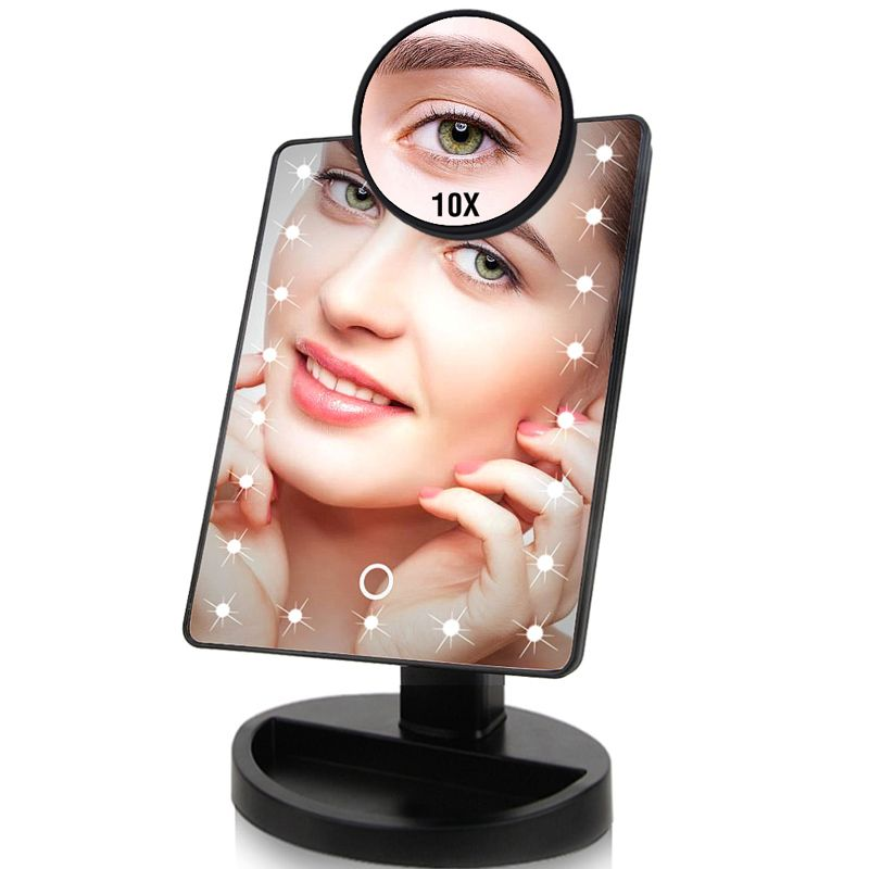 22 LED Lights Touch Screen Makeup Mirror Dropshipping Discounted Price 1X 10X Bright Adjustable USB Or Batteries Use 16 Lights