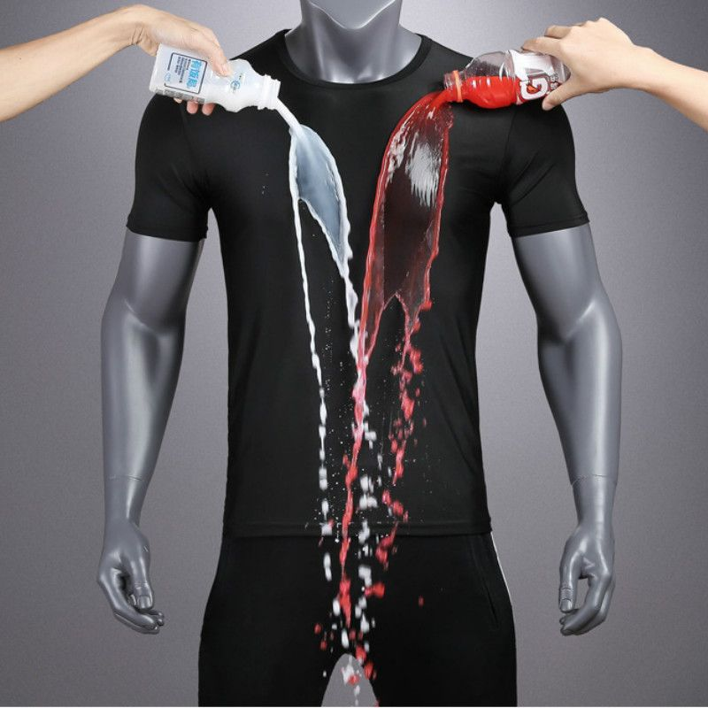 Jeseca Men Short Sleeve Creative Hydrophobic t-shirt Waterproof Breathable Anti-fouling Black Thin Section Large Size T shirt