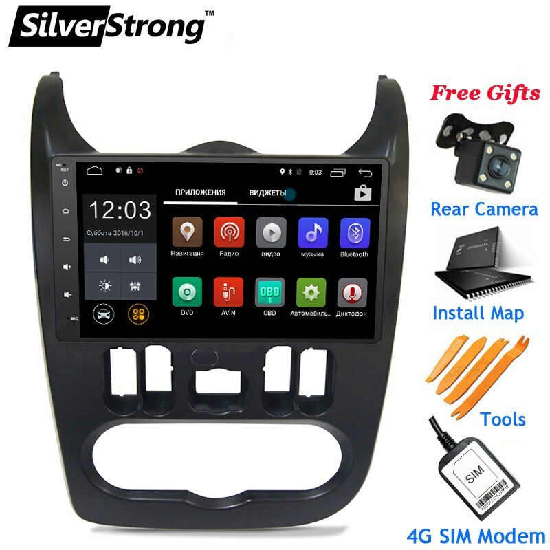 SilverStrong 4G LTE Modem 9inch Radio Android Car GPS for Renault Logan I Sandero Lada Lergus optional TPMS DVR OBD2