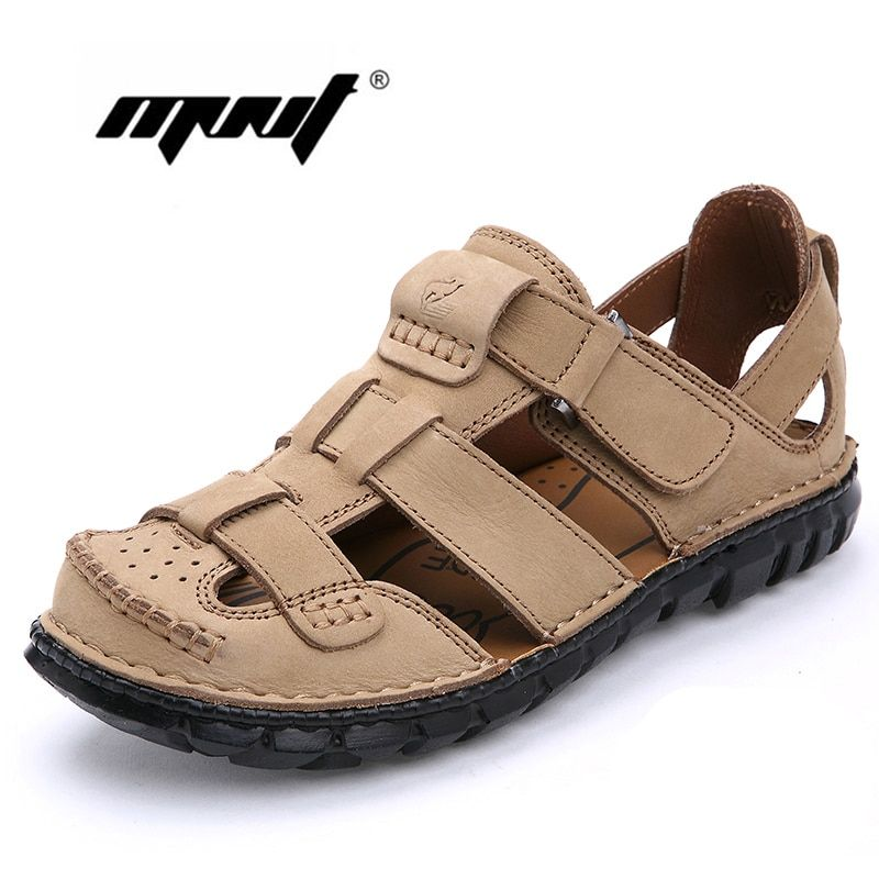 Full Grain Leather Men Sandals Handmade Men Shoes Summer Leather Shoes Top Quality Beach Sandals
