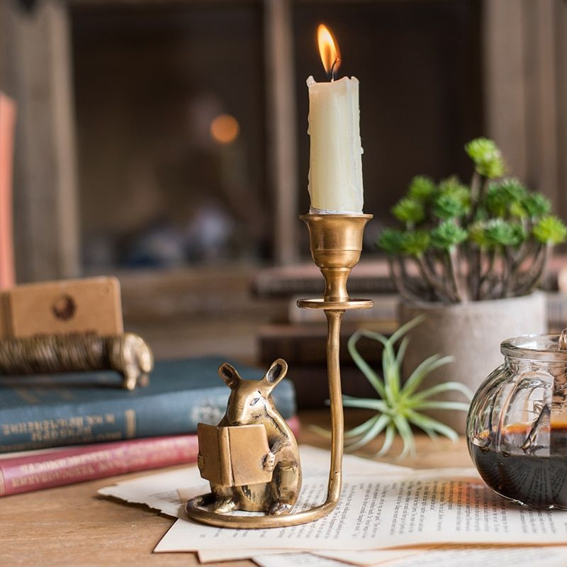 Retro Brass Manual Hamster Candlestick Desktop Metal Candles Holders Decorative Arts Home Dinner Candlestick Decoration
