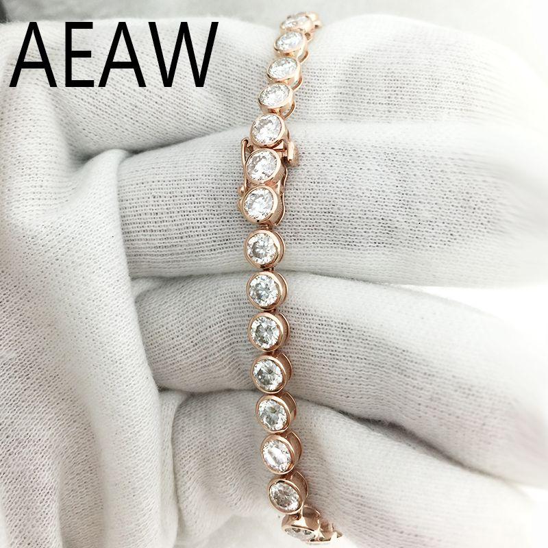 AEAW Schöne 11ctw Solide 14Kt Weiß Gold DF Moissanite Labor Diamant Hochzeit Lünette Armband für Frauen Geburtstag Feine Schmuck Geschenk