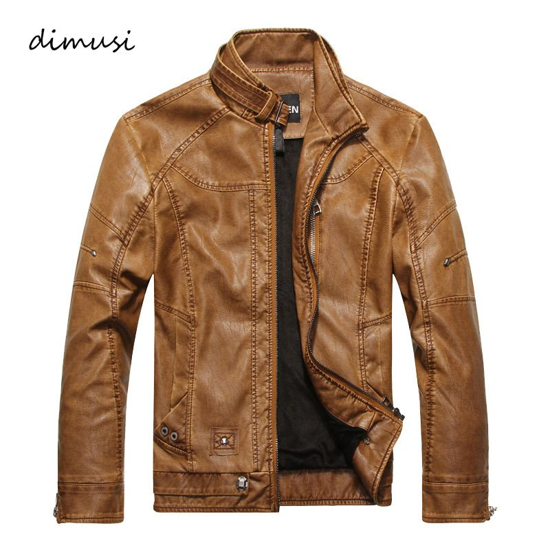 DIMUSI Men Autumn Winter Leather Jacket Motorcycle Leather Jackets Male Business casual Coats Brand clothing veste en cuir,YA349