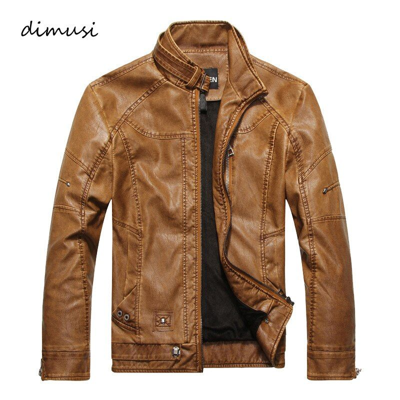 DIMUSI Men Autumn Winter Leather Jacket <font><b>Motorcycle</b></font> Leather Jackets Male Business casual Coats Brand clothing veste en cuir,YA349