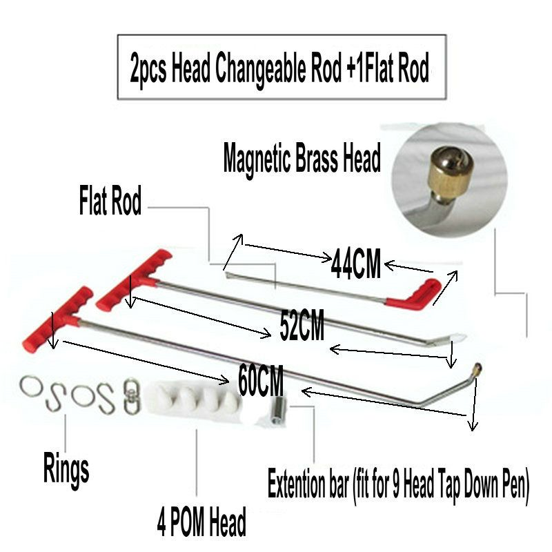 Magnetic PDR Hook Tools Push Rod Car Crowbar Paintless Dent Repair Tools PDR Dent Puller Lifter Kits Ding Hail Puller Set