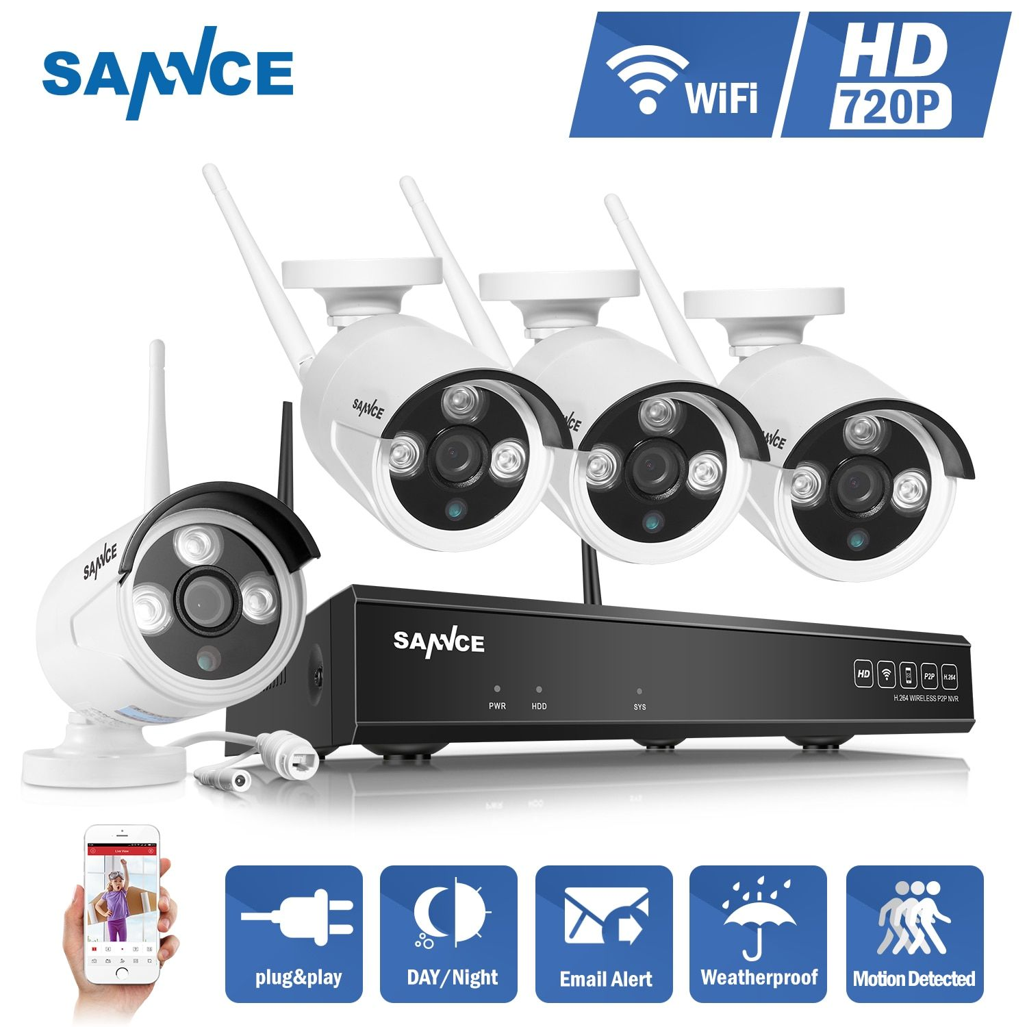 SANNCE 4CH Wireless IP Camera Wi-fi NVR Kit 720P HD Outdoor IR Night Vision Security Network WIFI CCTV System P2P Plug and Play