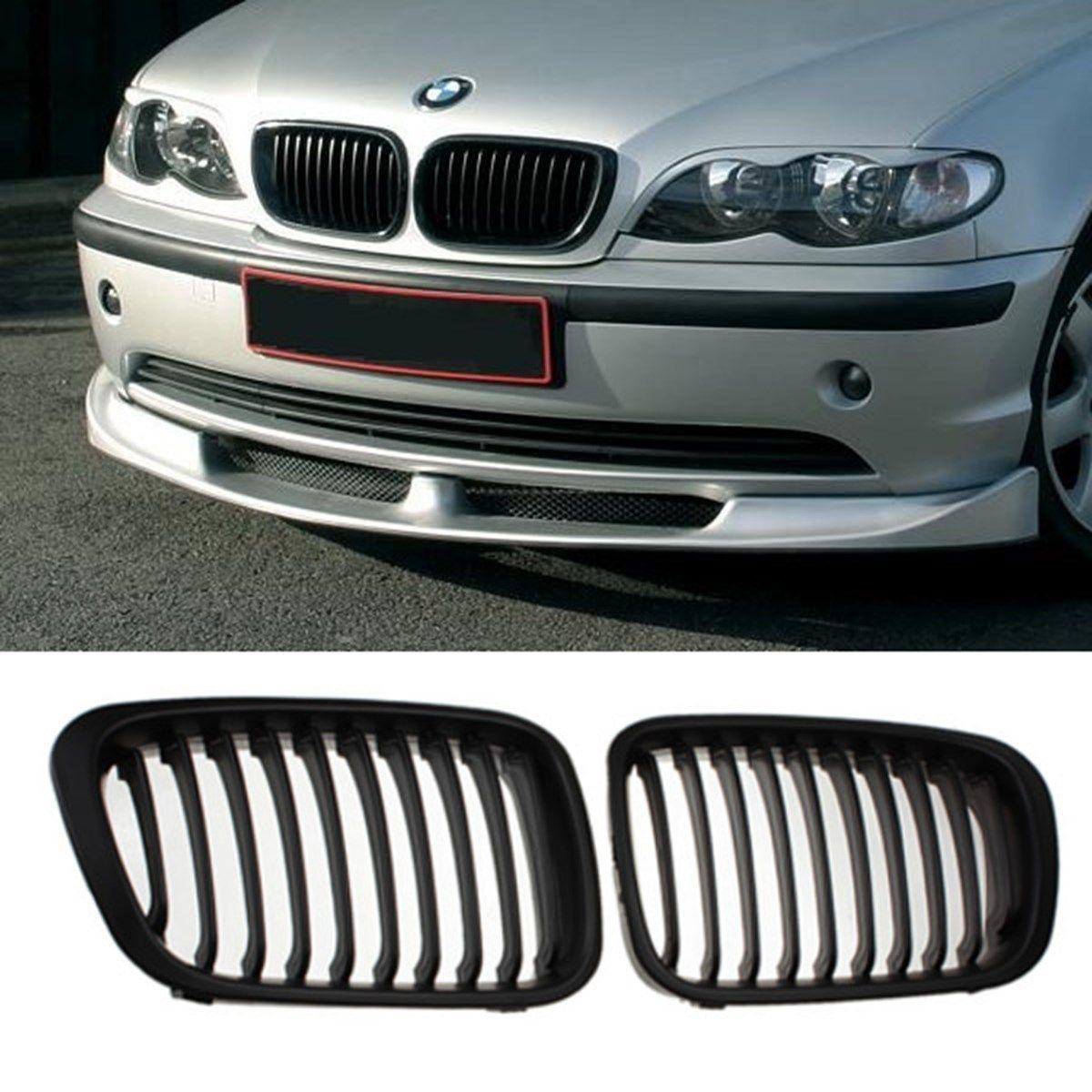 MATTE BLACK GRILLE GRILL for BMW E46 1998-2001 4 DOOR 320i 323i 325i 328i 330i 1998-2001