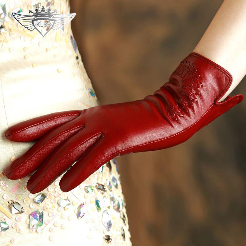 KLSS Brand Genuine Leather Women Gloves High Quality Goatskin Gloves Autumn Winter Elegant Sheepskin Gloves Female 2303