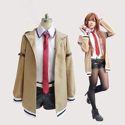 Steins Gate Cosplay Kostum Anime Jepang Cosplay Makise Kurisu Cosplay Jaket Mantel Pakaian Setelan Seragam