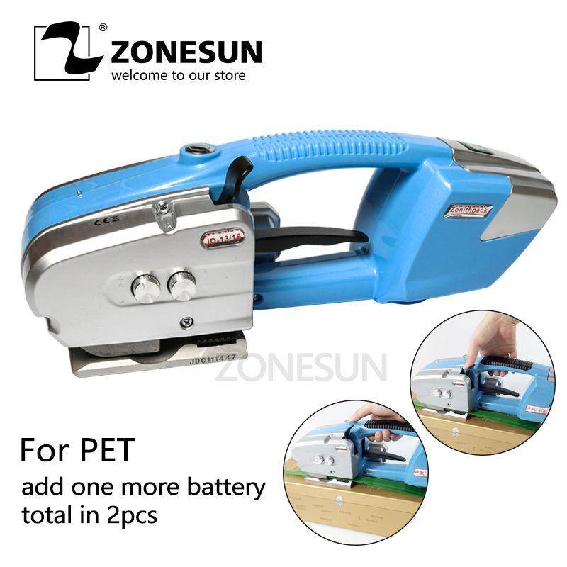 ZONESUN PET strapper fügen sie eine weitere Batterie Power Umreifung maschine Elektrische Kunststoff power umreifung werkzeug für papier lumer