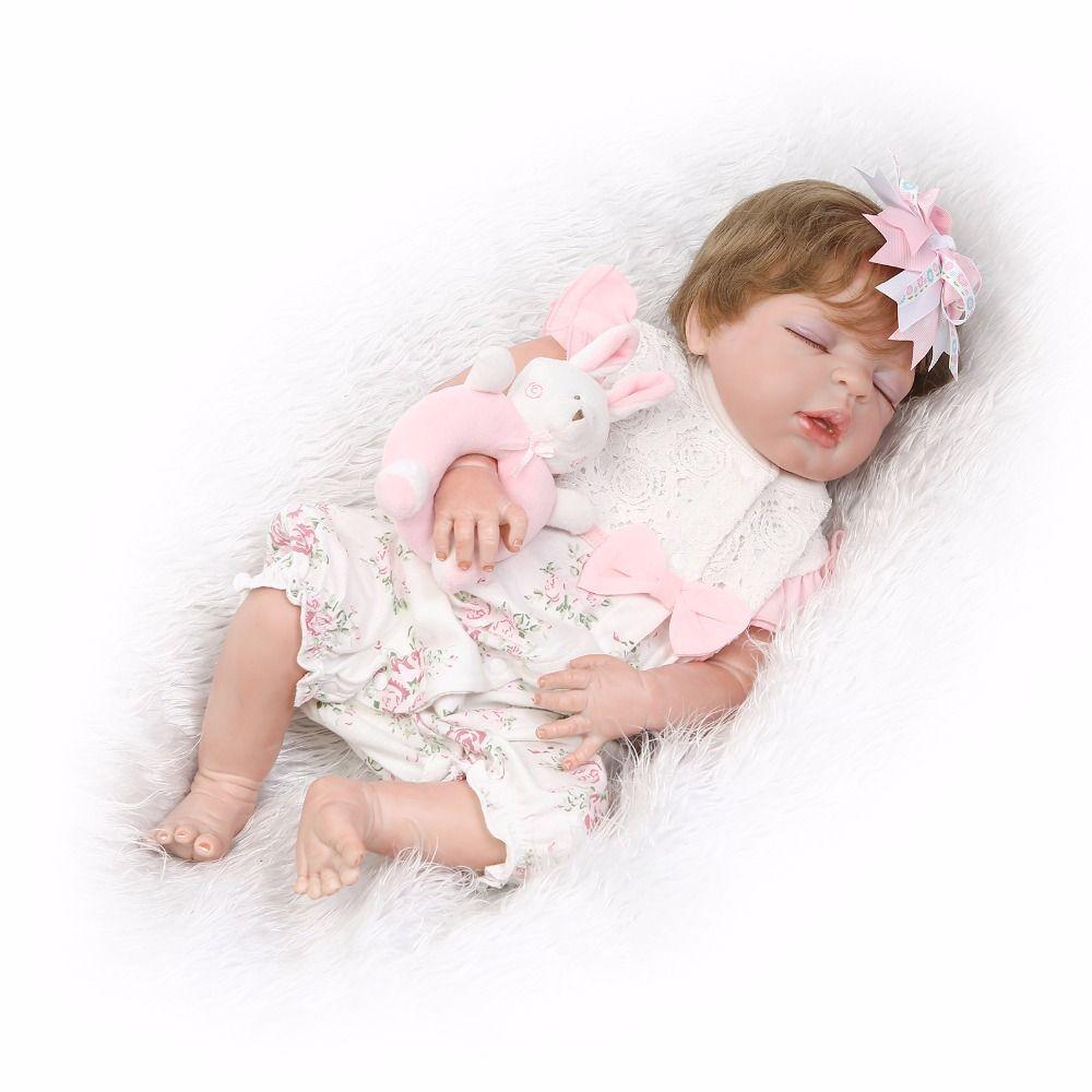55cm Full Silicone Reborn Baby Doll Toy Lifelike 22inch Bebe Newborn Sleeping Girl Doll Eyes Closed Waterproof Body Bath Toy