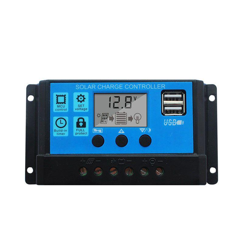 Solar system Spannung Laderegler 10A 20A 30A 12 v 24 v PWM LCD Display USB 5 v solarzellen Panel regler