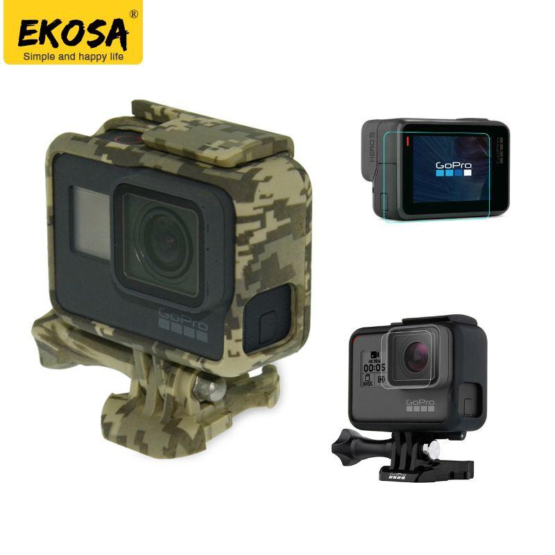 EKOSA Protection Cas Pour Gopro Hero 5 6 Go Pro 5 6 Camouflage Squelettes Cadres Sac Dur Avec Protéger FilmFor Gopro Accessoires