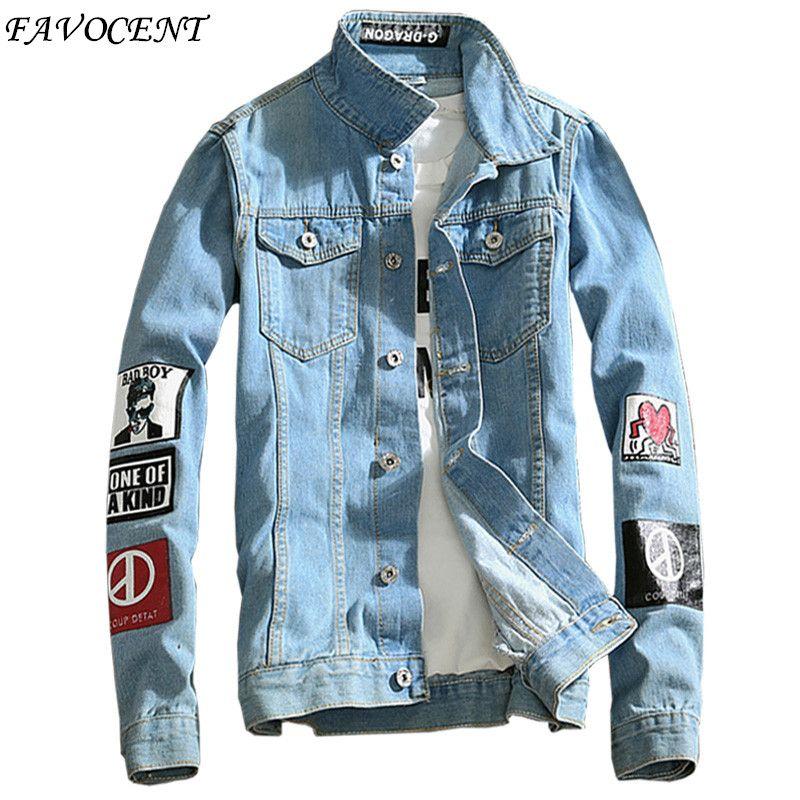 2019 Spring New Top Quality Denim Jackets Men Cowboy Slim Fit Bomber Jacket Men's Jean Jacket Print Coats 5XL Chaqueta Hombre
