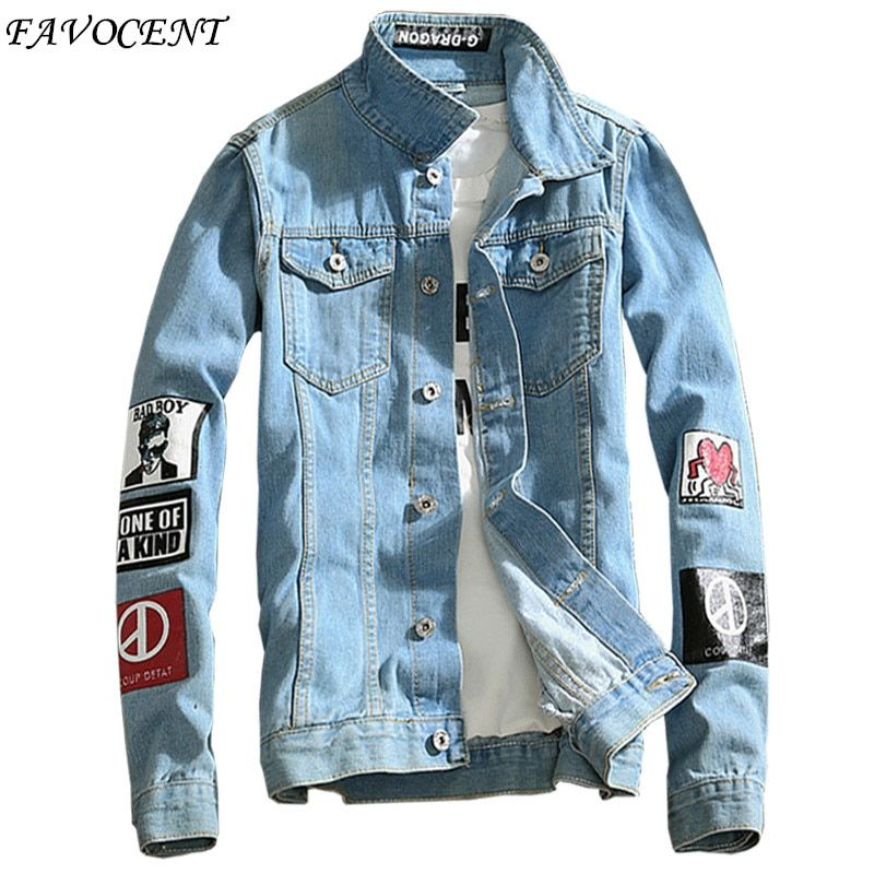 FAVOCENT 2018 spring new Top Quality Denim Jackets Men Hip Hop Clothing long sleeve Street wear Jeans Jackets Free shipping 5XL