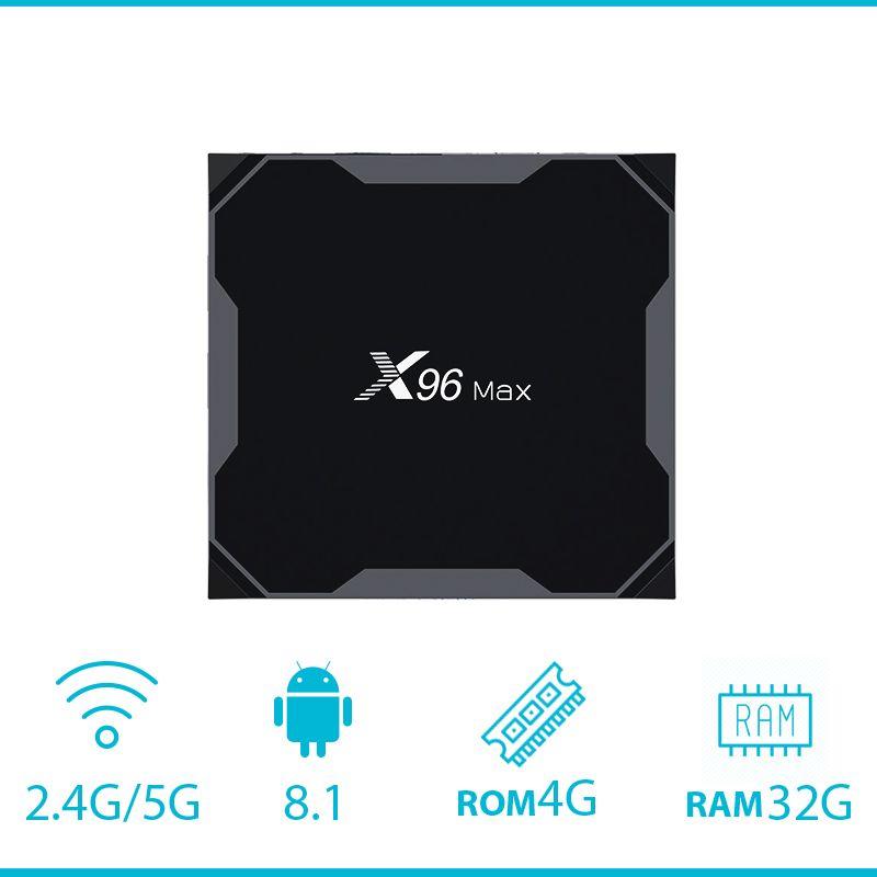 X96Max Smart TV BOX Android 8.1 Amlogic S905X2 LPDDR4 Quad Core 4GB 64GB 2.4G&5GHz Wifi BT 1000M 4K Set top box pk x96