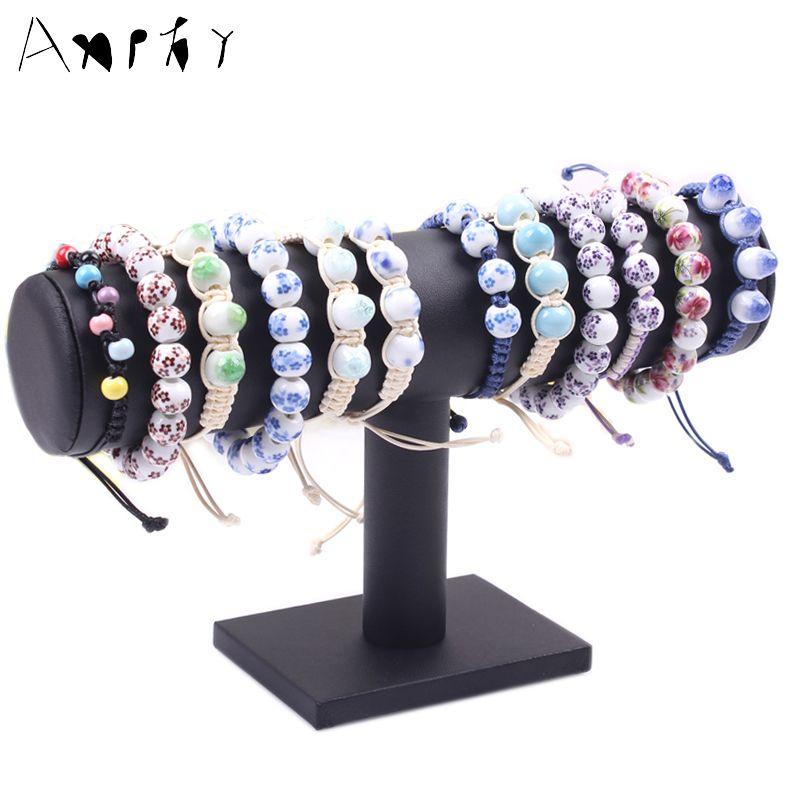 Negro t-bar Pulsera Soporte de exhibición Del Collar de Cuero Brazaletes Reloj Sostenedor de la Exhibición Muestra Estante Organizador de Almacenamiento En Rack A64-4