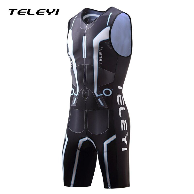 2017 TELEYI Triathlon Suit Men's Sleeveless Cycling Jersey Sets Breathable Ropa Ciclismo Bike Bicycle Speed Suit Wear Clothing