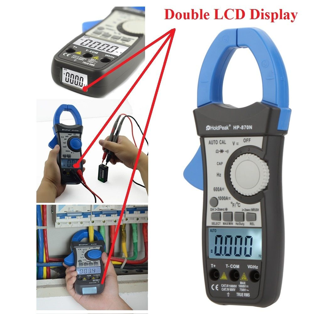HoldPeak HP-870N Auto Range Multimetro Digital Clamp Meter Multimeter Pinza Amperimetrica Amperimetro True RMS Frequency Tester