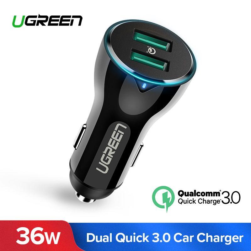 Ugreen 36 W USB Auto Ladegerät Dual Schnell 3,0 Lade für iPhone Xiaomi Huawei USB Schnelle Ladegerät für Samsung S9 s8 Auto Telefon Ladegerät