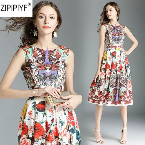 2018 Women elegant floral printing A-Line dress vestidos Summer O-neck sleeveless casual High Waist Knee-Length dresses C1111