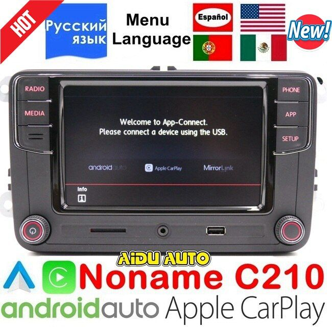 CarPlay Android Auto RCD330 R340G Plus Noname Radio RCD340G C210 For VW Tiguan Golf 5 6 MK5 MK6 Passat Polo 187B Russian Spanish