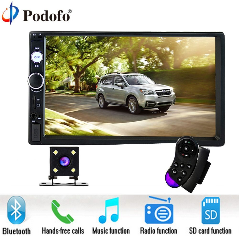 Podofo 7 Inch Touch Screen 2 Din Car Radio <font><b>2din</b></font> In Dash Auto audio Player Stereo bluetooth USB SD MP5 Rear View Camera Autoradio