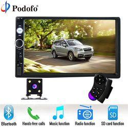 Podofo 7 pulgadas pantalla táctil 2 Din coche Radios 2DIN en el tablero auto reproductor de audio estéreo Bluetooth USB SD MP5 cámara de visión trasera auto Radios