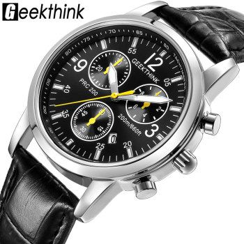 GEEKTHINK Casual Leather Strap Quartz Watches Men's Top brand fashion Wrist Watch clock male Steel Band New Classic Design