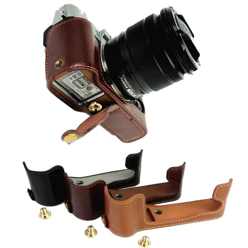 Cuero auténtico cámara para Fujifilm Fuji XT10 x-t10 xt20 xt-20 cuero Cámara media bolsa Cuerpo set cubierta inferior abierta batería