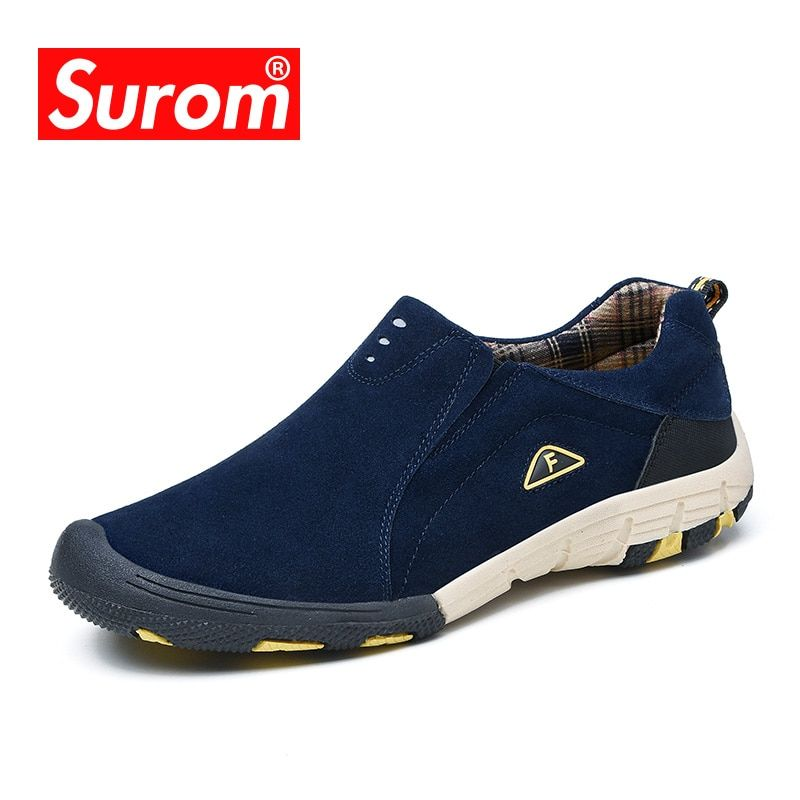 SUROM Brand real leather mens Casual Shoes 2018 Hot Sale Slip On Loafers Men Fashion Sneakers Spring Autumn Male Shoes Moccasins