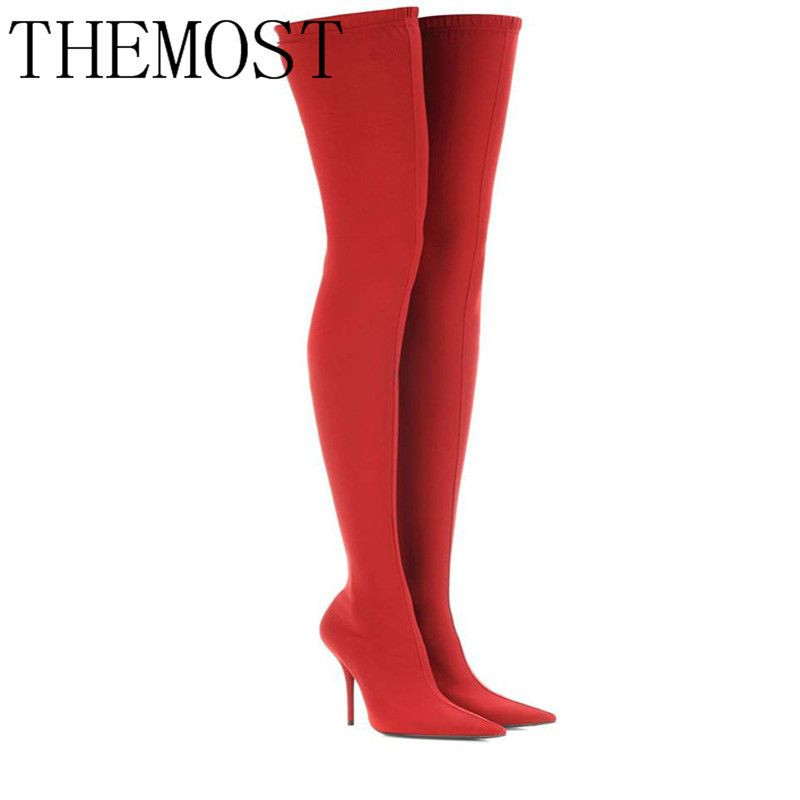 THEMOST2017 Winter Summer Sexy Thigh High Boots Satin Stretch Elastic Over The Knee Sky Slim High Heels Long Boots Women Shoes