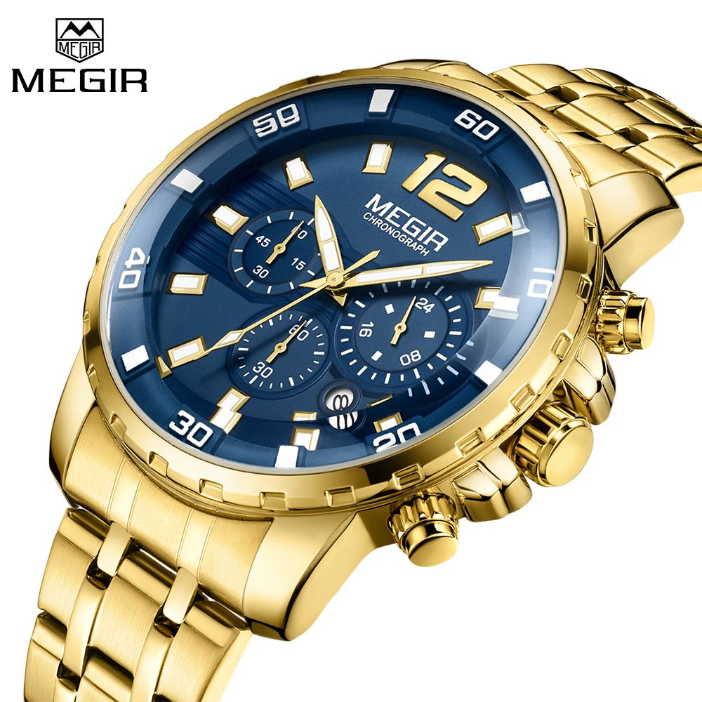 Top Luxury Brand MEGIR Business Watches Men Gold Stainless Steel Mens Sports Quartz Watch Blue Dial Clock Male Relogio Masculino