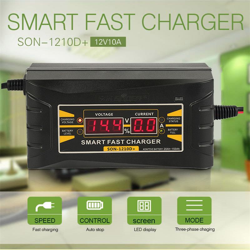 12V 10A Car Charger 110V-240V LCD intelligent display electric car lead - acid battery Charger US Plug Smart Charger XNC