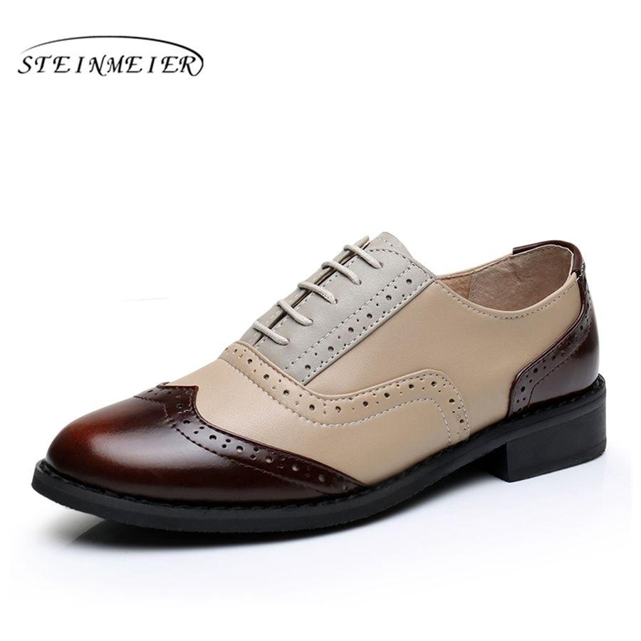 Пояса из натуральной кожи большая обувь нам Размер 11 дизайнер Винтаж без каблука Обувь круглый носок ручной работы белый весна 2017 Оксфорд О...