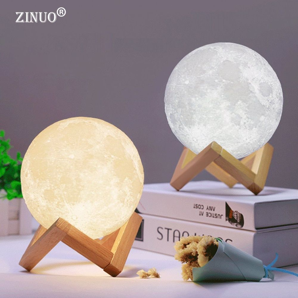ZINUO Rechargeable Moon Lamp 2 Color Change 3D Light Touch Switch 3D Print Lamp Moon Bedroom Bookcase Night Light Creative ночни
