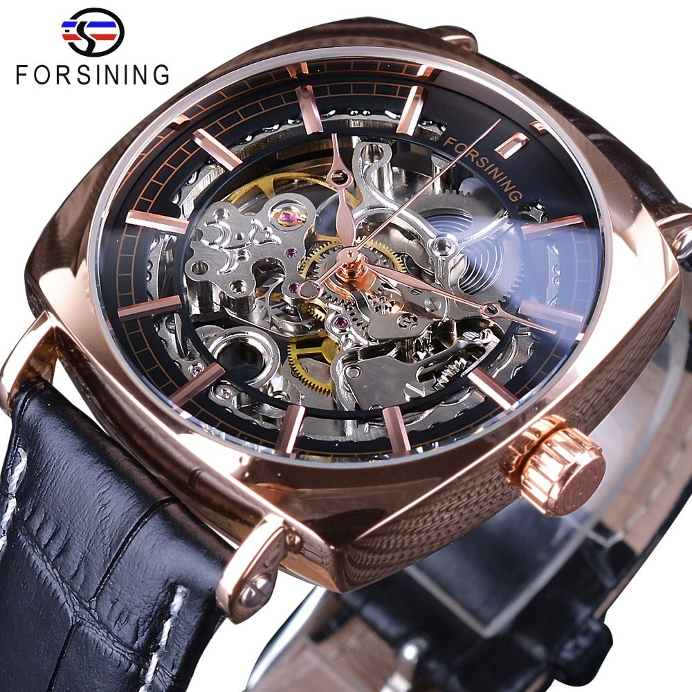 Forsining Black Genuine Leather Fashion Royal Luxury Gold Clock Transparent Skeleton Men Automatic Mechanical Watches Top Brand