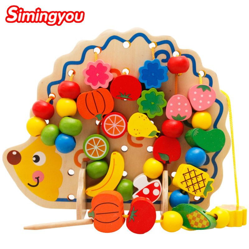 Simingyou <font><b>Learning</b></font> Education Wooden Toys 82 Pcs Hedgehog Fruit Beads Montessori Oyuncak Educational Toy For Children MZ0501051