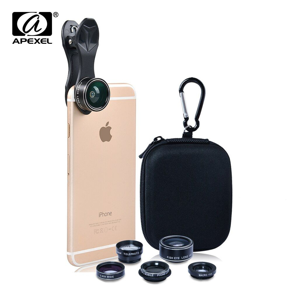 Apexel Optic Lens 198 Fisheye 150 Wide Angle &15x Macro 2X Tele CPL filter Phone Camera Clip Lens for iPhone Xiaomi Samsung DG5